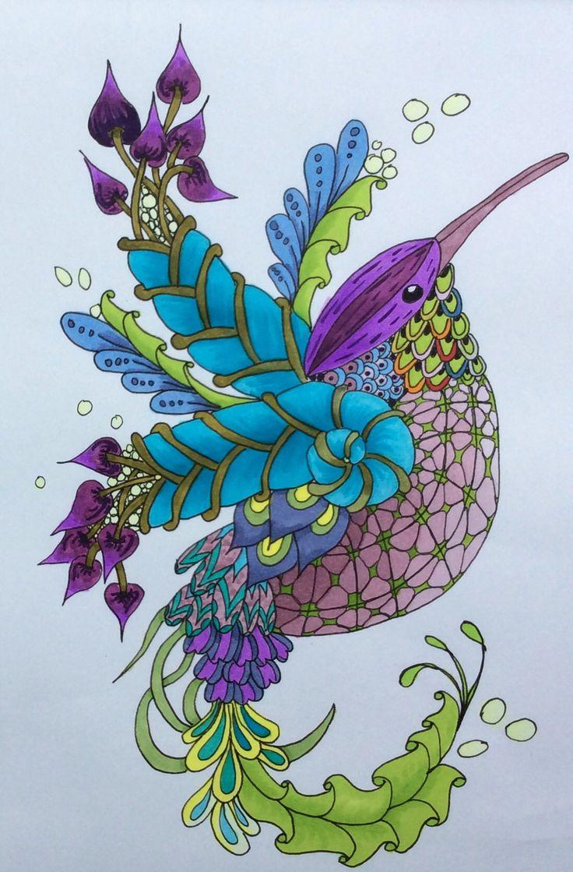 Zen doodle colour - Zentangle Els 7 2014 Hummingbird Project 5 The Art Of Zentangle