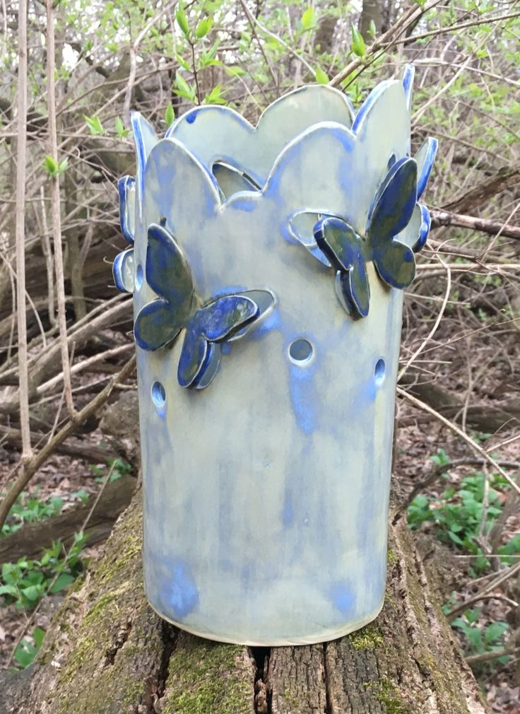 Large candle holder, clay lantern, candle luminary, green candle holder, ceramic luminary, butterflies, blue butterfly, DL17109 by DanutaLoaneCeramics on Etsy