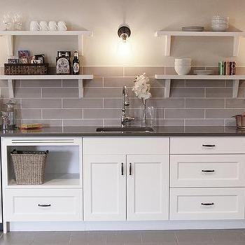 White Basement Wet Bar with Gray Tile Backsplash