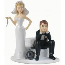 // Ball and Chain Wedding Cake Topper