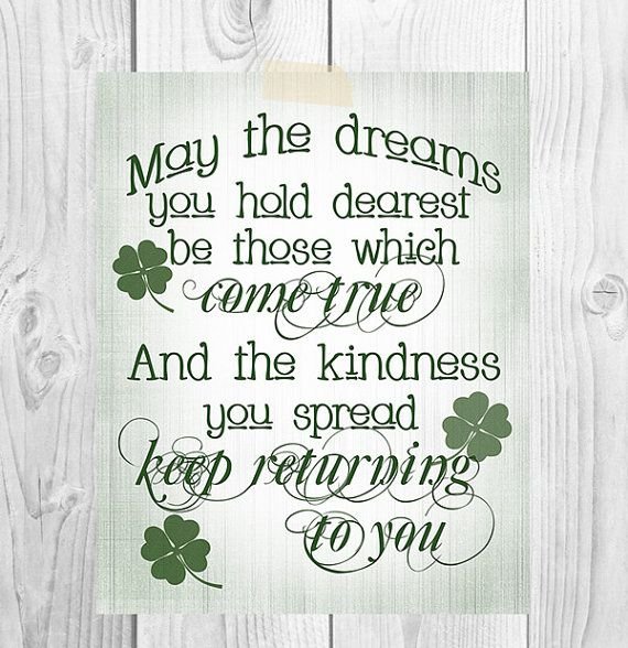 St. Patrick's Day Printable Art | May The Dreams You Hold Dearest | Irish Blessing | Home Decor on Etsy, $5.00