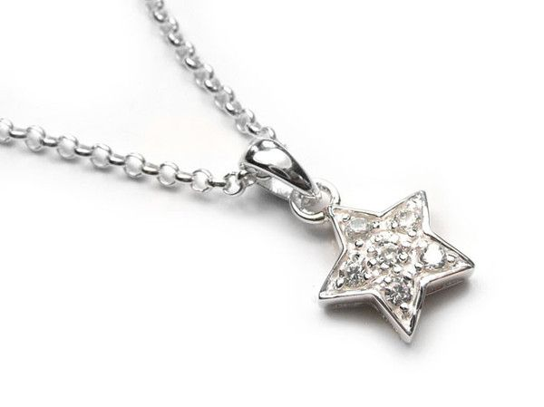 Silver Pendant - Sparkly Star