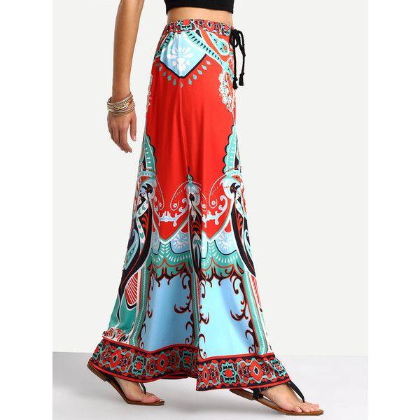 Tribal Print Tassel Tied Waist Maxi Skirt ❤ liked on Polyvore featuring skirts, floor length skirt, floor length white skirt, white tassel skirt, tie waist skirt and long white skirt