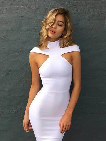 Keaton White Triangle-Cutouts Bandage Dress