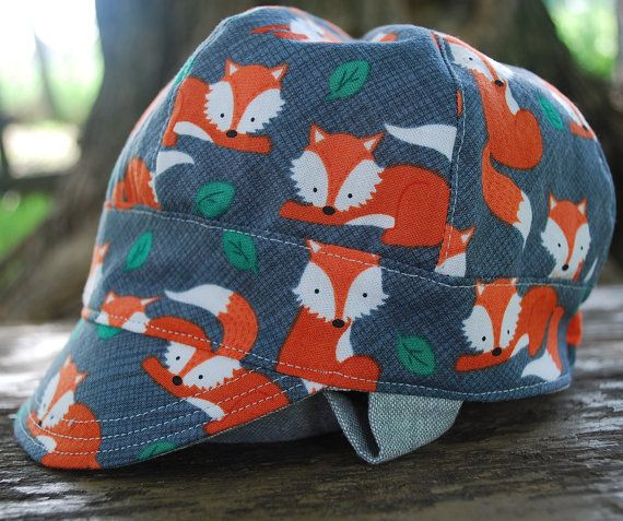 Giddy UP! Jockey cap!  Reversible modern cap for boys (2 hats in 1!)  This super cute cap for baby, toddler or child is a must have - double fabric