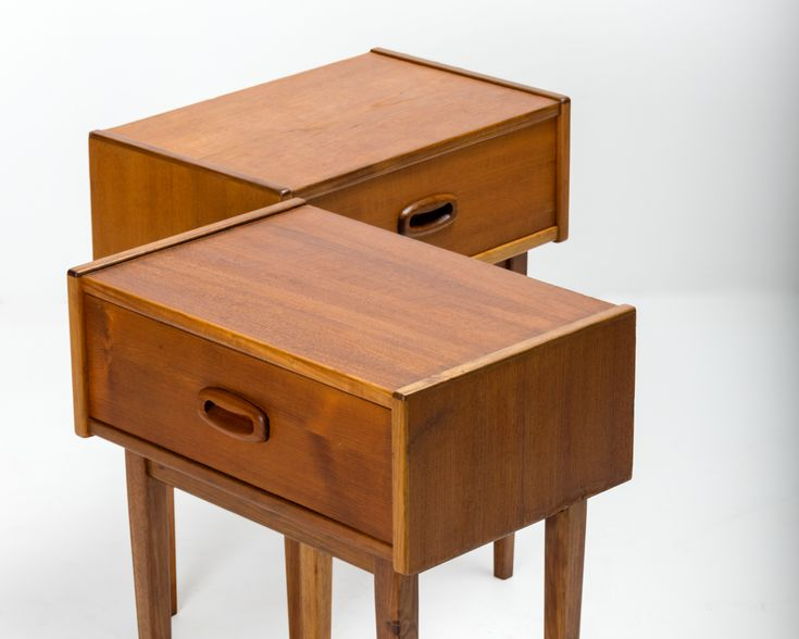 A highly desirable pair of Nordic bedside tables in walnut by Parker Furniture c1963-65.