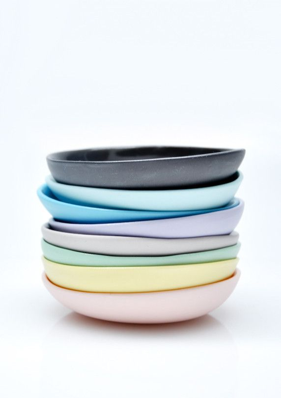 What's coffee without some breakfast? These colorful dishes would look great with croissant.