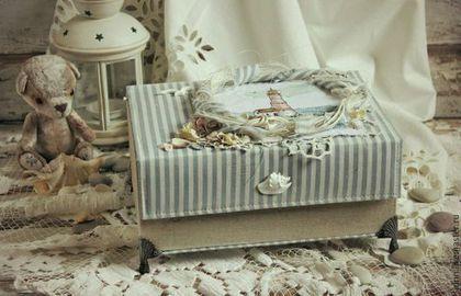Подарки для новорожденных, ручной работы. Ярмарка Мастеров - ручная работа. Купить Мамины сокровища в морском стиле с вышивкой. Handmade. Голубой