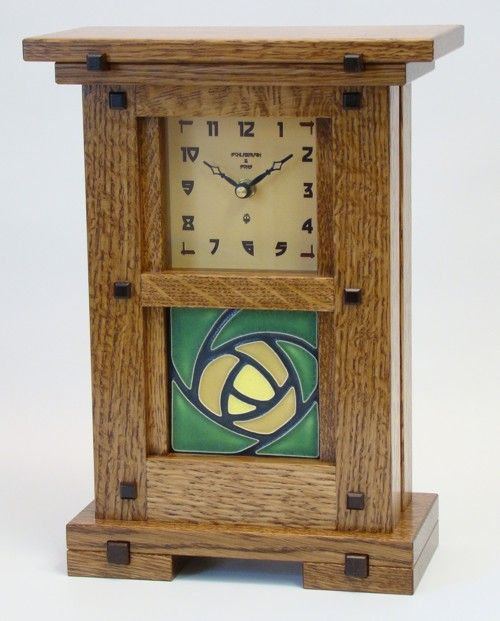 This American made Arts & Crafts, Greene & Greene Inspired Mantel Clock with ...sugarhouse-furniture.com
