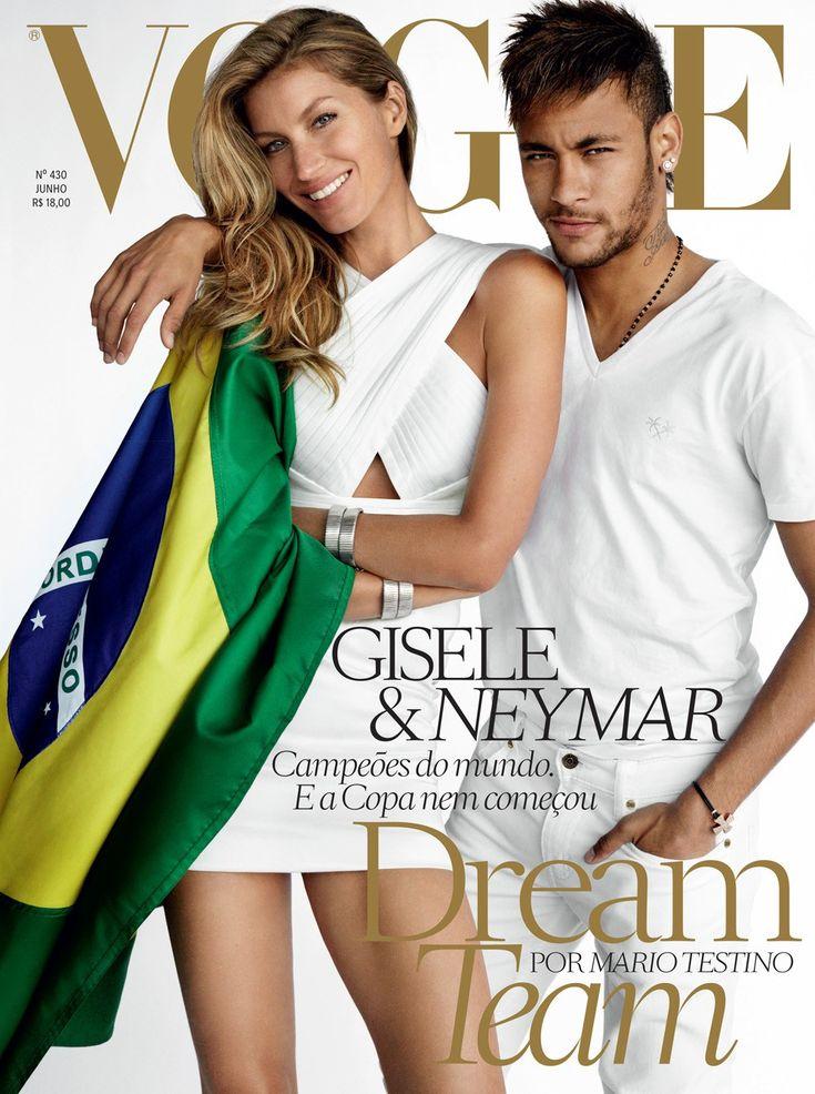 Neymar da Silva Santos Júnior and Giselle Bundchen on the cover of Vogue Brasil.