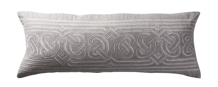 Celtic interlace patterns intricately appliquéd on linen. Aztaro cushion £235 | Available to buy from http://www.luxdeco.com/brands/aztaro