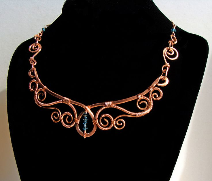 For April Contest  Dual-length necklace of recycled copper and swarovski crystals; coated to protect the wearer's skin and prevent tarnish.  5 inches wide.