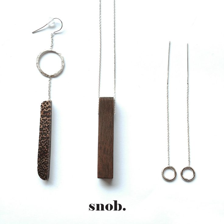 Exotic wood composition #snob #snobdot #singleearring #necklace #silver #contemporaryjewelry #minimal