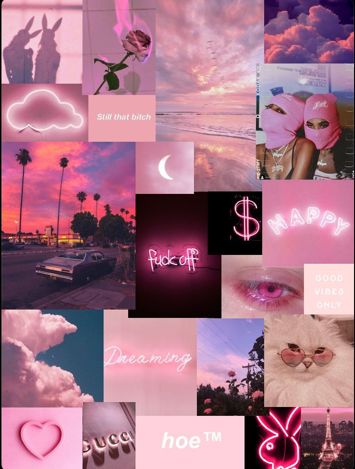 aesthetic pink iphone collage