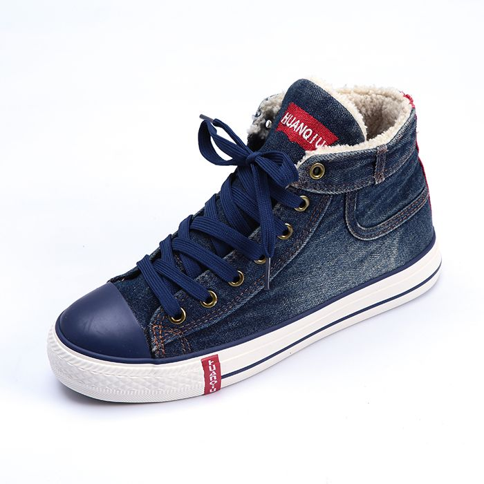 Lace Up High Denim Shoes For Women Fur Boots