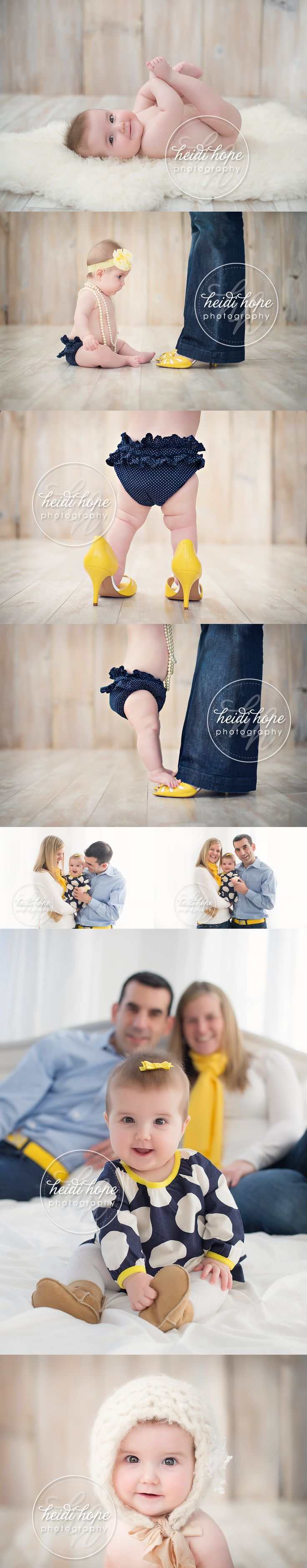 Adorable ideas for photo shoot w/baby girl- just need to add her big bro :) Really love the color combo too!