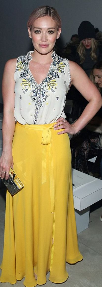 Who made Hilary Duff's yellow maxi skirt and print top?