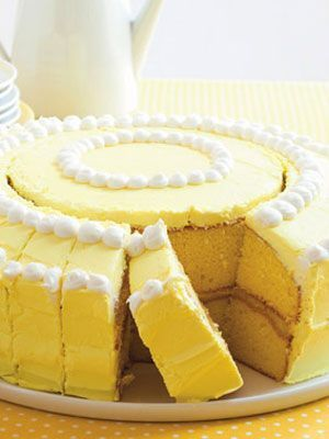 When serving a crowd, cut a circle in the center (place a small bowl on the cake and trace around it). Then cut the outer ring into slices. You'll have nice square pieces that fit on a plate, instead of long wedges that drop off the edge. You can cut the small round middle into pieces too! FREAKING GENIUS!!