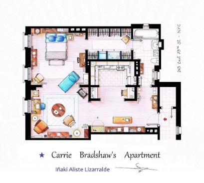 The floorplan of Carrie Bradshaw's 'Sex And The City' apartment, as imagined by artist Inaki Aliste Lizarralde