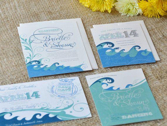 Filigree Sea Wedding Invitation & RSVP. $3.50, via Etsy.