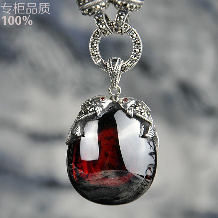 Silver pendants female big red crystal garnet necklace piscean 925 pure silver vintage $56.05