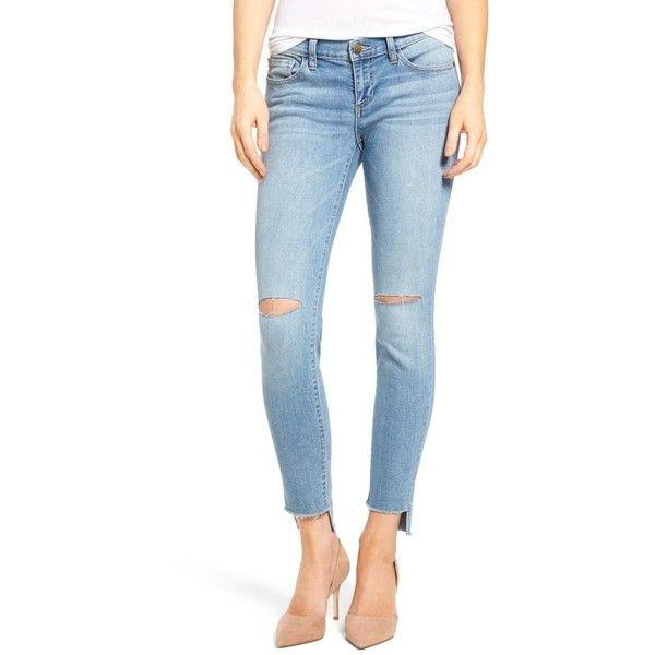 Women's Sp Black Step Hem Skinny Jeans ($58) ❤ liked on Polyvore featuring jeans, medium light, blue jeans, stretch denim skinny jeans, faded blue skinny jeans, super stretch skinny jeans and stretchy skinny jeans