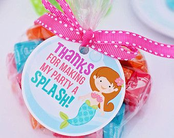 Mystical Mermaid Printable Party Favor Tags - Cupake Toppers - Printable Mermaid Party Favors - Thanks for Making My Party a Splash