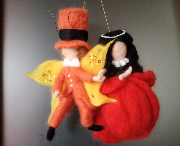 OOAK doll and boy - Poppy doll and butterfly Emanuel needle felt