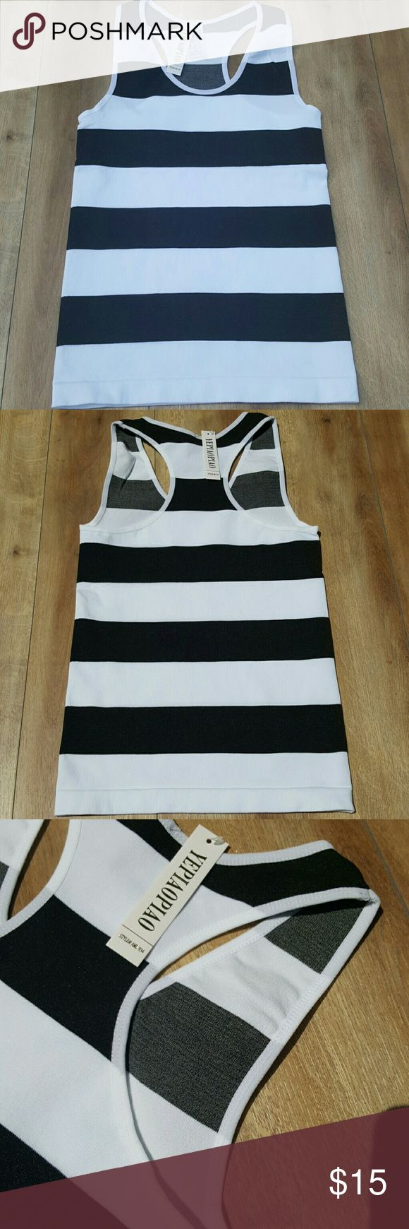 NWT TANK TOP Black and white thick stripe tank top comes with tags and bag it came in SIZE OS stretchy material perfect for summer yepiaopiao Tops Tank Tops