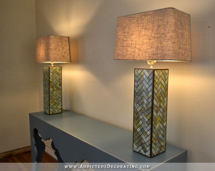 Watercolor Tile Herringbone Table Lamps  Finished! Homemade ...