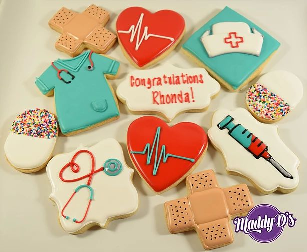Nurses Day, Nurse cookies, syringe, pills, smock, stethoscope, scrubs, red, heartbeat, pill, band-aide, bandage, heart, Royal icing decorated sugar cookies by Maddy D's Sweets.