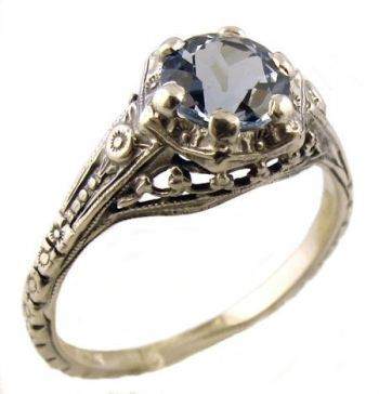 Antique Style Sterling Silver Filigree 6mm Round Shaped Ring Setting