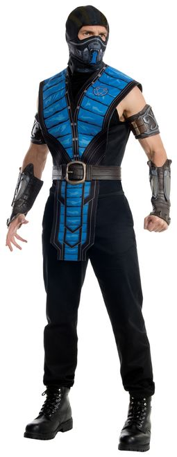 """Sub-Zero Mortal Kombat X Costume - """"It is time to entertain our guests."""" This is the officially licensed costume for Sub-Zero from Mortal Kombat X. It comes with shirt with attached tabard, hooded mask, belt, armbands and gauntlets. Perfect for Halloween, comic con or movie night. Great for a group costume. #yyc #calgary #costume #SubZero #MortalKombatX"""