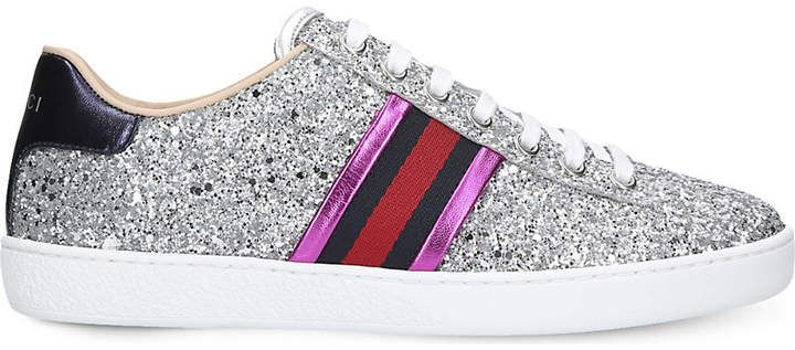 fade4f6f263 Gucci New Ace striped glitter trainers  Gucci  sneakers  ShopStyle   MyShopStyle click link
