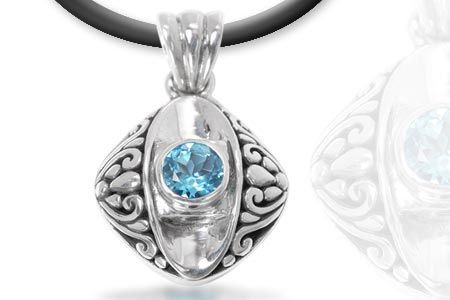 Silver Pendant with Blue Topaz