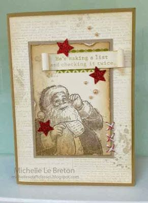 Baked Brown Sugar cs & ink, Early Espresso ink, Dictionary background stamp, Very Vanilla cs, red glimmer paper, star punch, Cherry Cobbler baker's twine, Season of Style washi tape, Gorgeous Grunge stamp set