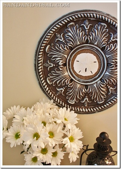 Ceiling Madallian Wall Art~So Clever, would be nice with small mirror in the middle too!