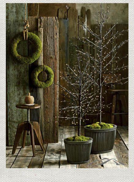moss wreath lit branch tree from http://ModernMountainDesign.com. A modern approach to mountain design.
