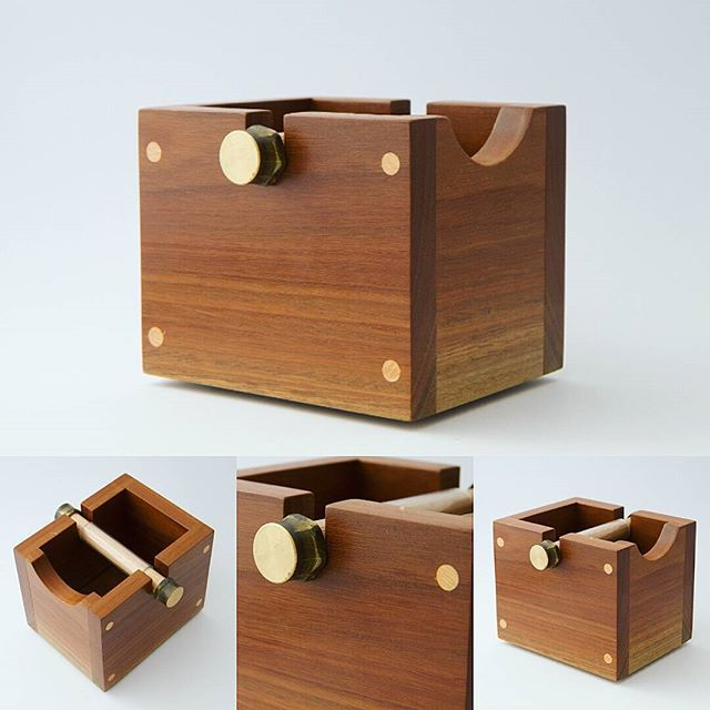 My design for a coffee knock box I made a while back. Contructed from Spotted Gum, Jacaranda & Tasmanian Oak. Heavy and robust, designed to last a lifetime. Much better than the plastic crap. Maybe I'll design an arty one next.  #woodworking #coffee #coffeelover #coffeetime #homedecor #foodporn #home #cafe #restaurant #australia