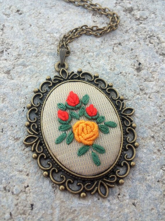 Unique Necklaces for Woman Rose Flower fabric by RedWorkStitches