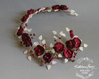 Borgoña novia corona oro boda pelo vid accesorio diadema marrón rojo oscuro y oro flor corona - ESTILO: Wendy