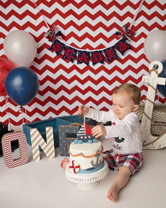 NAUTICAL BIRTHDAY BANNER / 1st birthday boy / One year photos / Cake smash