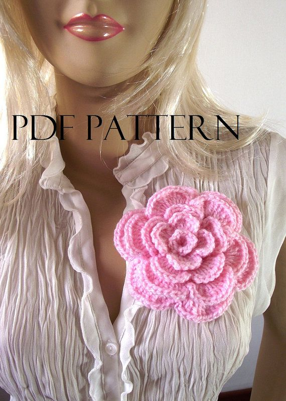 Crochet PATTERN FLOWER Brooch Pin Embellishment by LiliaCraftParty