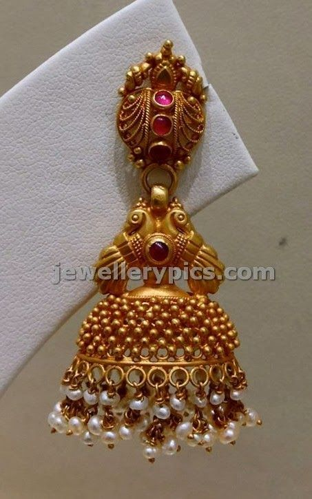 gold buttalu temple earrings design