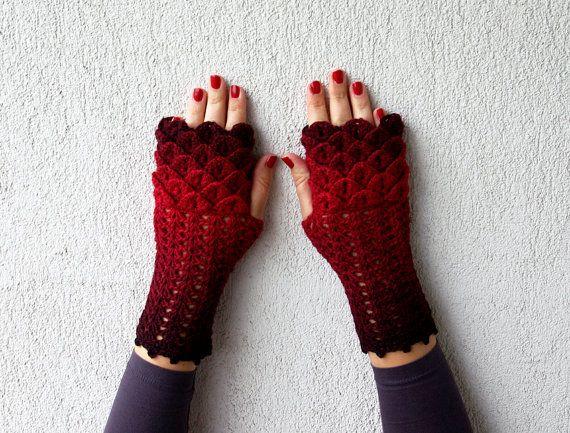 Dragon Gloves Knitting Pattern : Fingerless gloves - red dark red Transitional Ombre ...