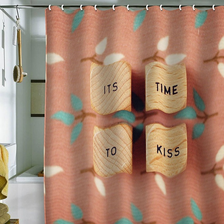 DENY Designs Happee Monkee It's Time To Kiss Shower Curtain | Pure Home #love