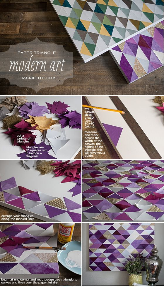 Make this art with a canvas, paper and mod podge for an original piece to decorate your space.