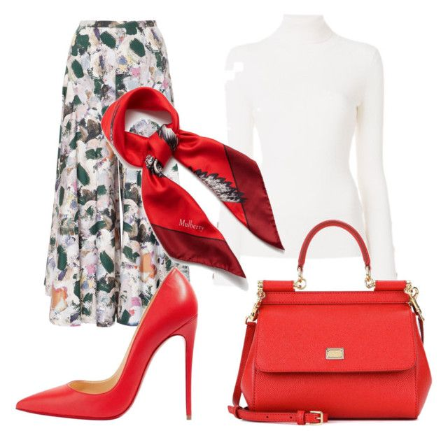 """""""Fitting with red"""" by tothmerci on Polyvore featuring Christine Alcalay, See by Chloé, Dolce&Gabbana, Christian Louboutin and Mulberry"""