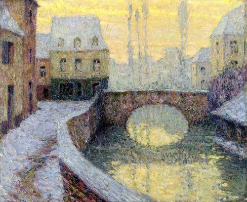 Henri Le Sidaner:  Snow at Guimcamp (c.1918) via The Athenaeum