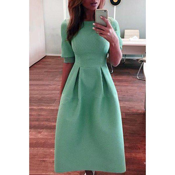Stylish Round Neck Half Sleeve Solid Color Women's Midi Dress